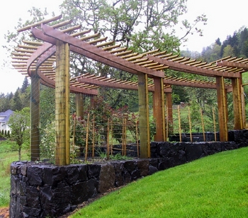 Terraced Rose Garden - Deer Fence - Landscape Trellis